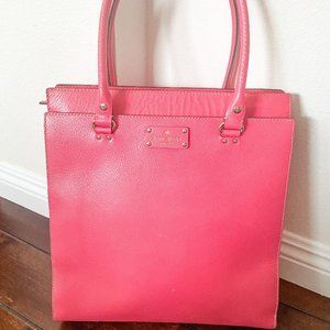 Kate Spade Hot Pink Leather Wellesley Quinn Tote